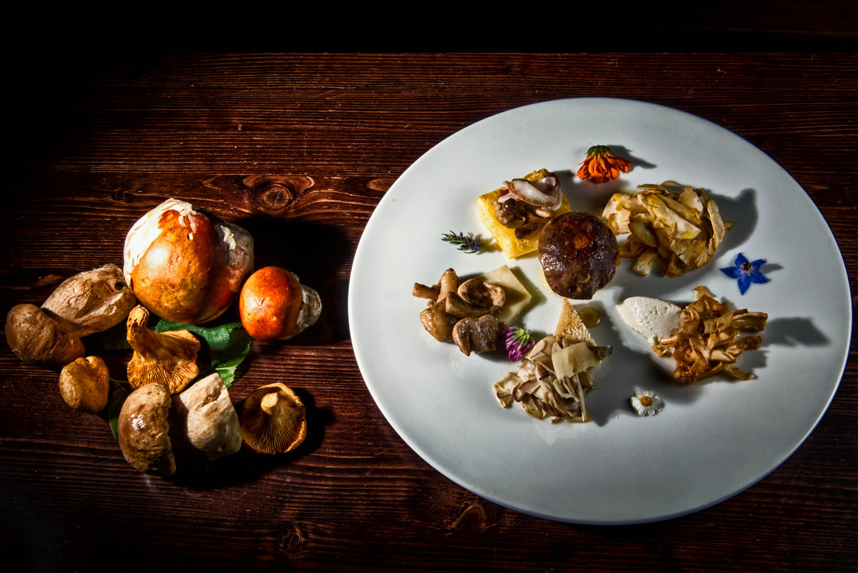 Gran assortimento di funghi - finferli crudi con ricotta mantecata, porcini tiepidi su crostone, colombine con cremoso di bufala, piopparelli con polenta e pancetta, ovoli scottati in padella