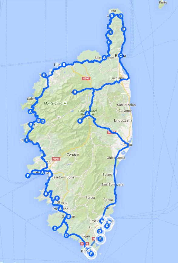 itinerario in corsica