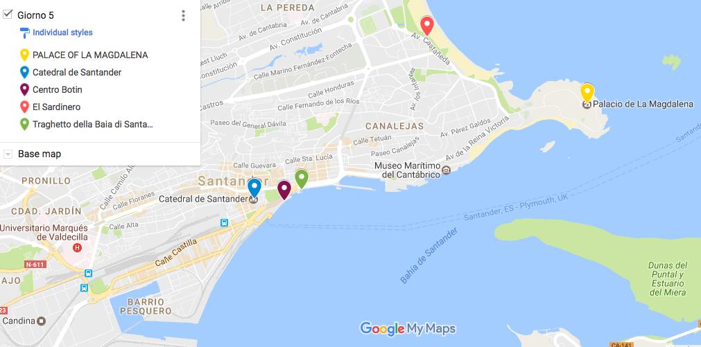 itinerario in Cantabria Santander